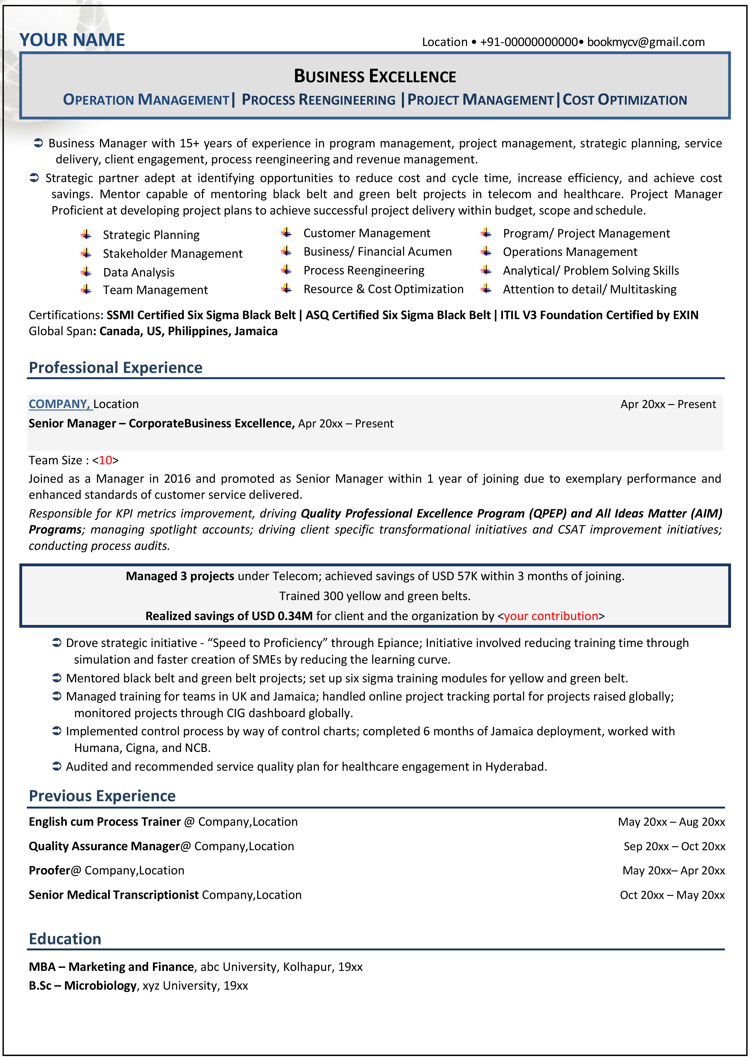 Resume Format For Experienced Professionals | Best Resume ...